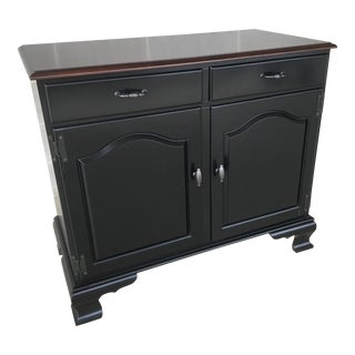 Ethan Allen Ebonized Chippendale Style 2 Drawer Server For Sale