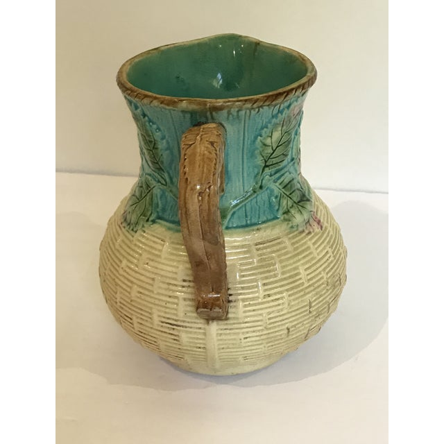 Majolica Strawberry Basket Pitcher For Sale - Image 4 of 11