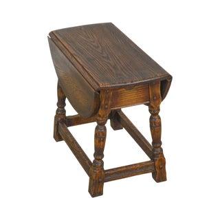 Feudal Oak Jamestown Lounge Vintage Drop Leaf Side Table For Sale