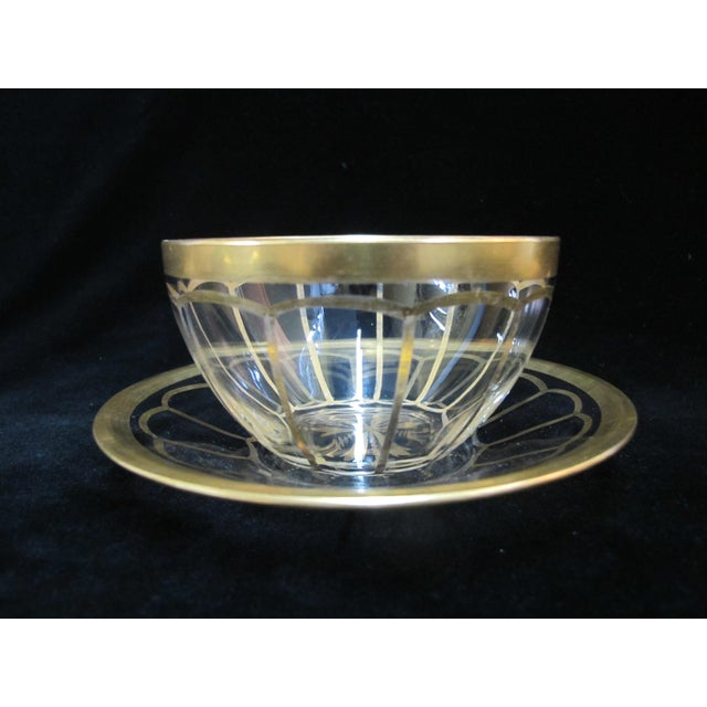Vintage Mid Century Gold Gilt Glass Cream Soup Bowl & Saucer- 8 Pieces For Sale - Image 4 of 8