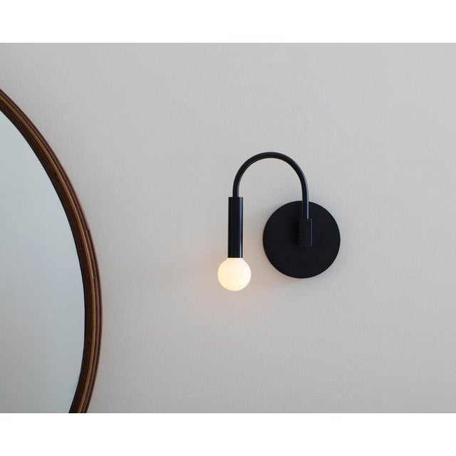 Contemporary Arch Contemporary Wall Sconce in Matte Black With Satin Glass Globe For Sale - Image 3 of 8