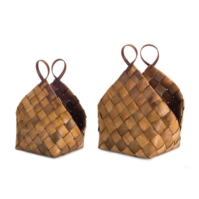 Tan Woven Baskets from Kenneth Ludwig Home - a Pair For Sale - Image 8 of 8