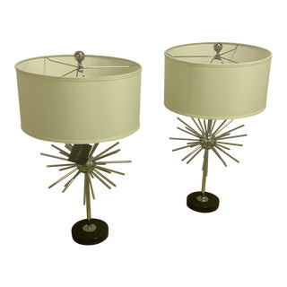 """Currey and Co """"Trendsetter"""" Table Lamps With Shades - a Pair For Sale"""