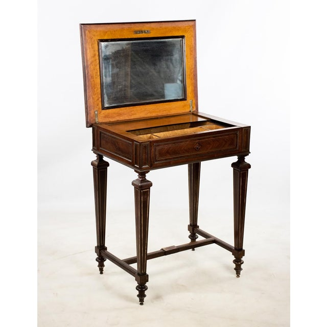 French Louis Philippe Brass and Mother of Pearl Inlay Gentleman's Dressing Stand For Sale - Image 3 of 13