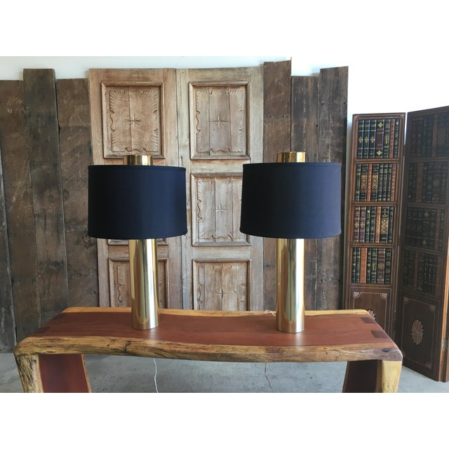 Modernist Brass Column Lamps - a Pair For Sale - Image 9 of 9
