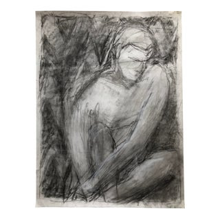 Contemporary Male Figure Charcoal Drawing on Paper For Sale