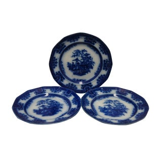 "3 Antique Amoy Pattern Davenport 10 1/2"" Flow Blue Dinner Plates Staffordshire For Sale"