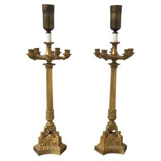 19th C. 6 Light Gilt Bronze Candelabra Lamps - A Pair