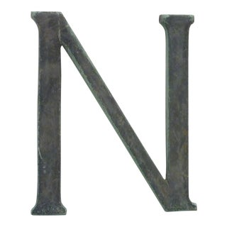 19th Century Industrial Bronze Letter 'N' Sign For Sale