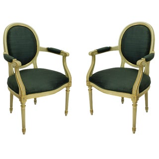 1950's French Painted and Gilded Armchairs - a Pair