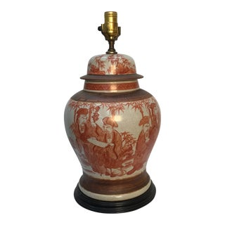 1960s Asian Style Hand Painted Ginger Jar Table Lamp For Sale