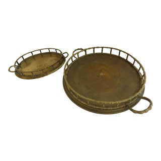 1980s Boho Chic Brass Faux Bamboo Trays - a Pair For Sale