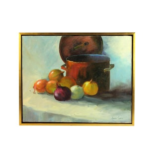 """""""Copper Pot & Onions"""" Signed and Framed Oil Painting For Sale"""
