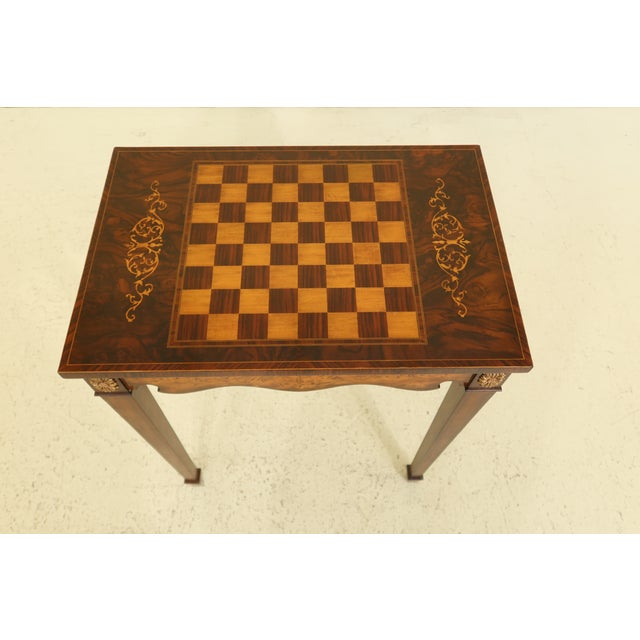 Item: 31668EC: MAITLAND SMITH Inlaid Walnut Games Table Top Occasional Table Age: Approx: 10 Years Old Details: High...