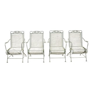 Mid 20th Century Meadowcraft Glenbrook Wrought Iron Patio Arm Chairs-Set of 4 For Sale