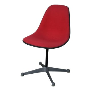 Single Vintage Fabric Contractor Base Eames Swiveling Chair For Sale