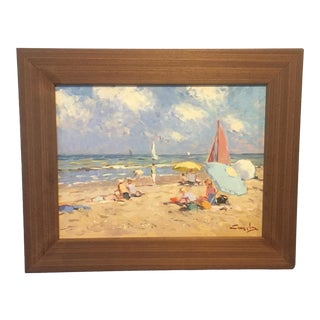 Niek Van Der Plas Beach Scene Framed Painting For Sale