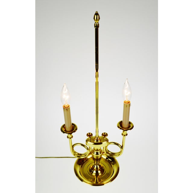 Brass Vintage 1960's Baldwin Brass French Horn Bouillotte Table Lamp For Sale - Image 7 of 11