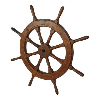 Late 19th Century Vintage Ship Steering Wheel For Sale