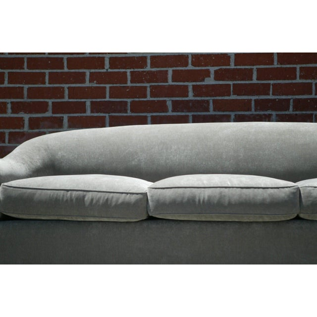 Down Filled Silver Velvet Sculptural Sofa - Image 8 of 9