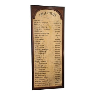 Vintage French List of Champagne Restaurant Sign For Sale