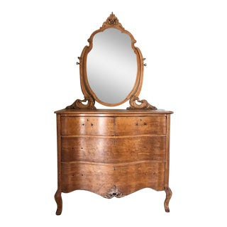 French 1890s Birdseye Maple Chest With Mirror