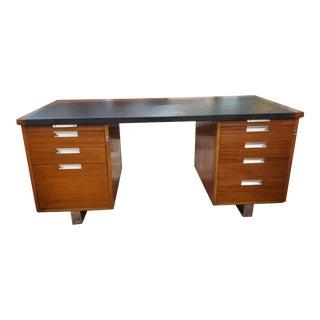 Vintage Mid Century Modern Pedestal Desk For Sale