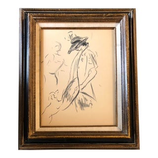 Original Ink Wash Vintage Deco Painting Woman W/Dog For Sale