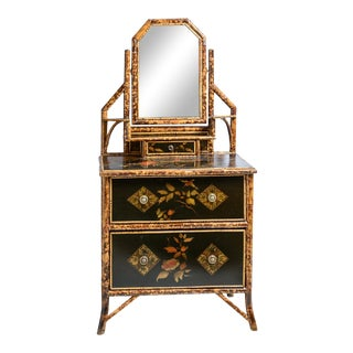 English Bamboo and Lacquer Chest With Mirror For Sale