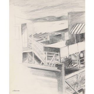 Jack Freeman Backyard Overlooking the Sf Bay, Ink and Graphite, Circa 1960 Circa 1960s For Sale