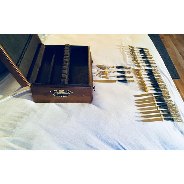 Mid Century Brass and Rosewood J. Thailand Flatware Set 28 Pieces For Sale - Image 10 of 12