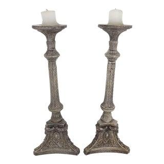 Tall Silverplate Candlesticks - A Pair