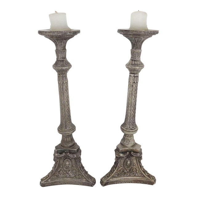Tall Silverplate Candlesticks - A Pair - Image 1 of 8
