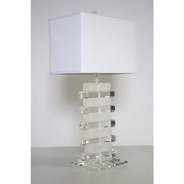 1970s Stacked Lucite Table Lamp For Sale - Image 5 of 8
