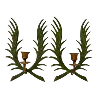 Vintage Green Metal and Brass Candle Wall Sconces - a Pair For Sale
