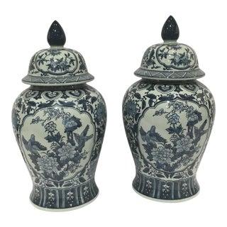 Tozai Blue & White Porcelain Ginger Jars - a Pair
