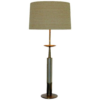 Mid Century Modern Parzinger Style Brass & Silver Plate Table Lamp Orig Shade For Sale