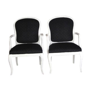 Serge Roche Style Black Diamond Arm Chairs For Sale