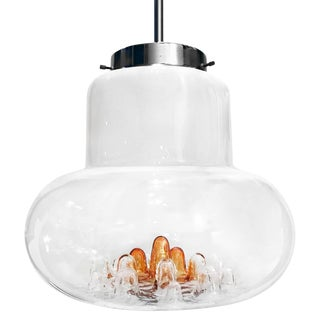1970s Mazzega Murano White and Amber Glass Chandelier For Sale
