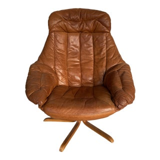 1960s Midcentury Brown Leather Swivel Chair For Sale