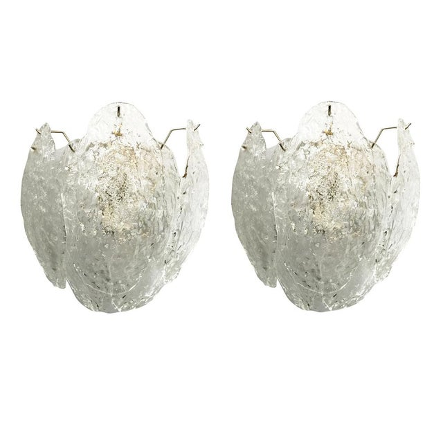 Glass Pair of Italian Murano Glass Leaves Sconces For Sale - Image 7 of 7