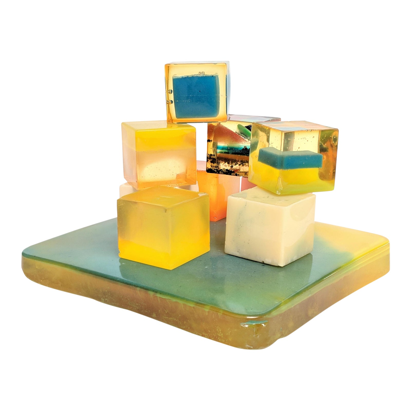 Shlomi Haziza Style Lucite Cubes Sculpture   Chairish