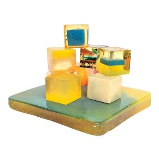 Shlomi Haziza Style Lucite Cubes Sculpture