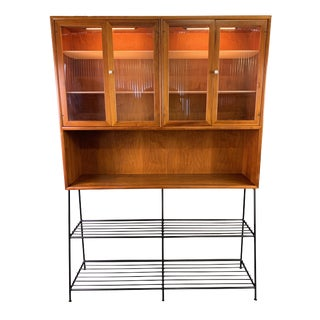 """Vintage Drexel """"Declaration"""" Mid Century Modern Hutch With Custom Made Wrought Iron Base For Sale"""