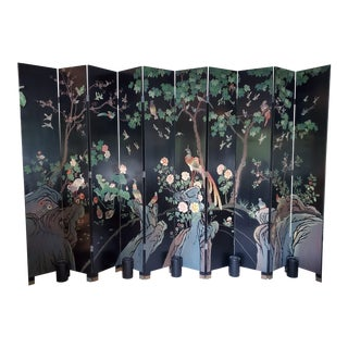 1980s Chinese Style 10 Panel Coromandel Screen For Sale