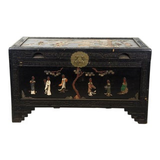 20th Century Antique Chinese Black Lacquer Hard Stone Wedding Trunk For Sale