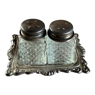 1920s Patterned Glass Salt & Pepper Set With Silver Tray For Sale