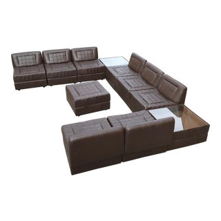 Modular Leather Sectional Sofa by Percival Lafer For Sale