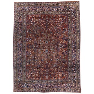 20th Century Persian Mashhad Rug With Traditional Style For Sale