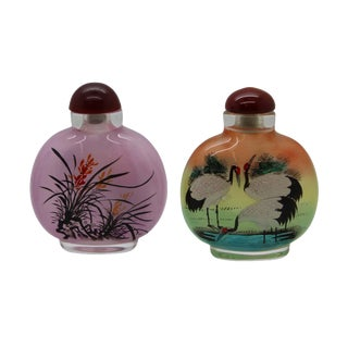Lot of Two Clear Glass Inside Painting Crane and Flower Snuff Bottle For Sale